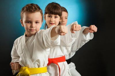group of kids are doing a karate martial art position